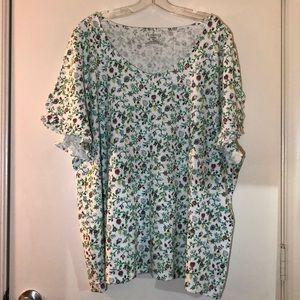 Talbots 3X(22/24W) Linen/Cotton T-shirt,ruffle slv